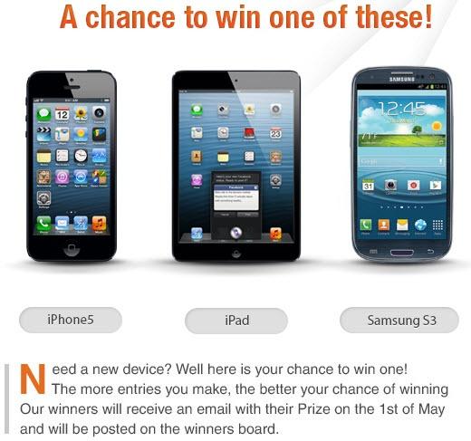 Contest: Share, Tweet, Like, Pin, Follow and win an iPhone 5, iPad Mini or Samsung Galaxy S3