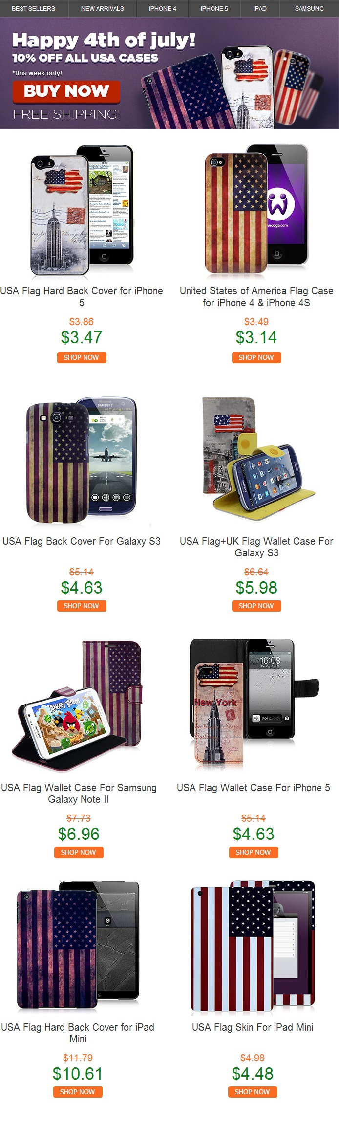 4th of July 10% discount on USA cases