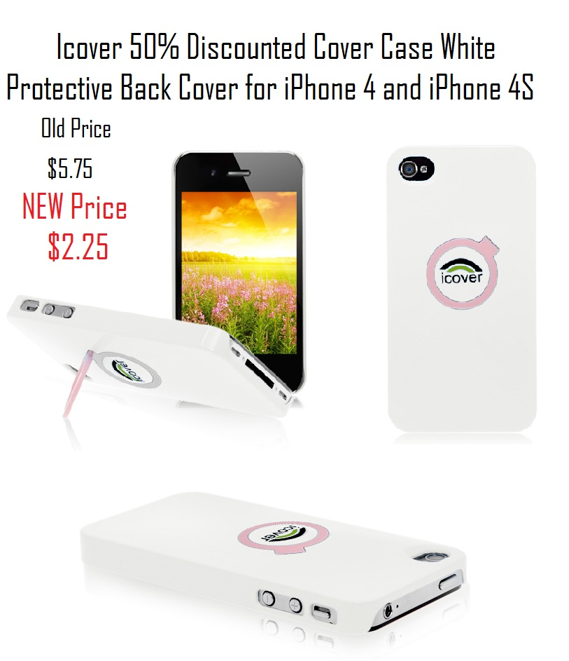 icover discount 50% iPhone 4 4S white stand case