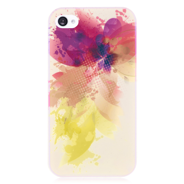 Blue Light Reflective Flower Hard Back Cover for iPhone 4