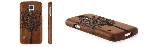 Demountable Tree Pattern Wooden Back Cover for Samsung S5