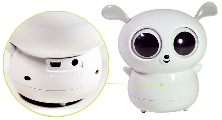 Lemur Shape Cute Mini Speaker with Lighting Ears - White