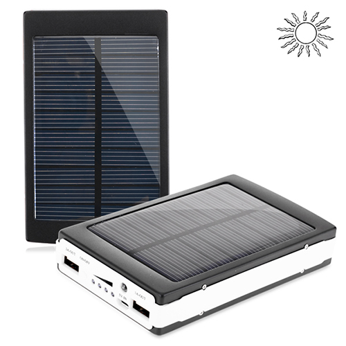 30000mAh Portable Solar Power Bank for All Chargeable Devices - Black