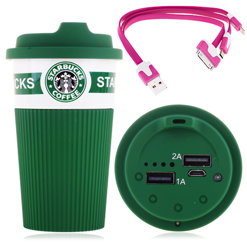 12000mAh Starbucks Cup Dual Output 3 in 1 Data Cable Portable Power Bank - Green