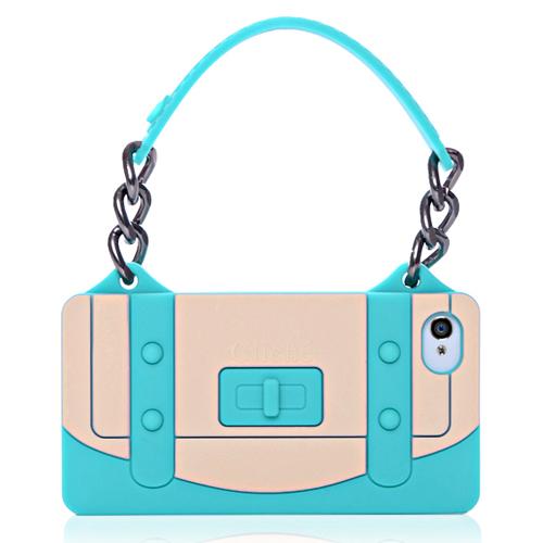 Ladies Handbag Style TPU Case For iPhone 4 & iPhone 4S, - Green