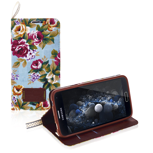 Samsung Galaxy S5 Flower Fabric Wallet Case with Credit Card Slot