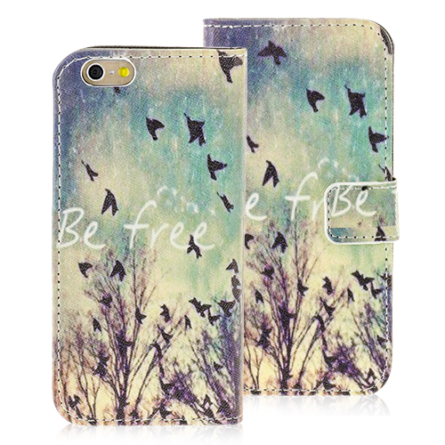 Nice iPhone 6 PU Leather Wallet Case Be Free Design Protective Wallet Cover